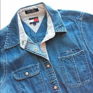 Vintage Tommy Jeans Size 6 fitted denim top